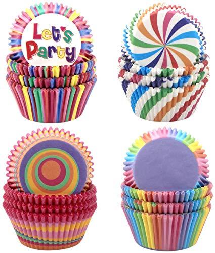 CLKJCAR Caissettes à Cupcakes, 400 Pièces Moules à Muffins Cupcakes en Papier,Arc-en-Ciel des Moules à Gâteaux pour Soirée de Mariage Cuisine Baking Dessert Bricolage Anniversaire