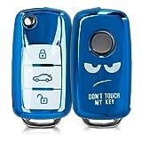kwmobile Funda Compatible con VW Skoda Seat - Carcasa para Llave del Coche VW Skoda Seat Llave de Coche de 3 Botones - diseño Don't Touch my Key