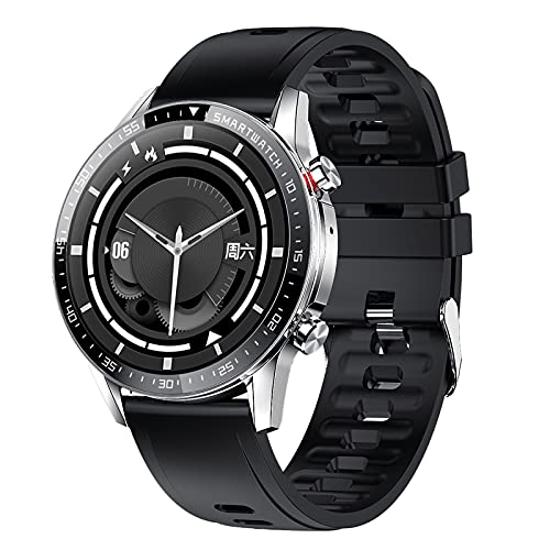 QFSLR Smartwatch,Pantalla De 1,3 Pulgadas Reloj Inteligente Impermeable IP67 con Pulsómetros para Mujer Hombre, Control De Música Telefonía Bluetooth Ciclo Menstrual Femenino,Black e