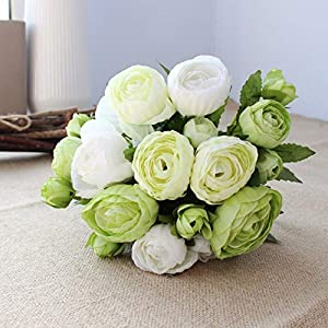 Artificial and Dried Flower 10 Head Rose Bunch Ranunculus Bride's Wedding Flower Silk Artificial Flowers Party Home Gift – ( Color: Green Cream/ Size: 2 pcs )