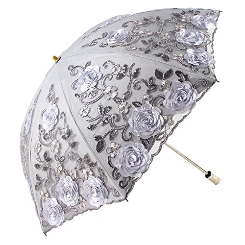 Honeystore Wedding Lace Sun UV Parasol 2 Folding 3D Flower Embroidery Umbrella 1811 Grey