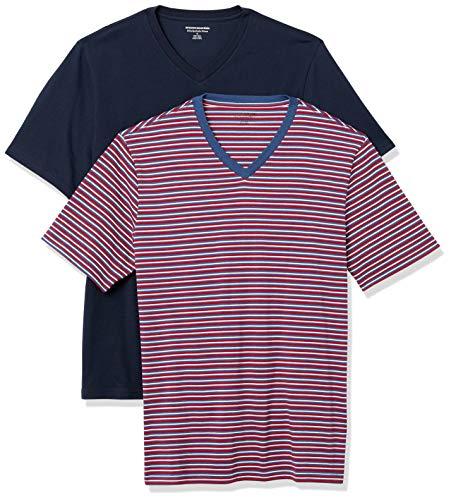Amazon Essentials 2-Pack Slim-Fit V-Neck T-Shirt, Rosso, Bianco, Blu Alimentatore/Navy, L, Pacco da 2