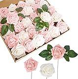 TOPHOUSE 60 rosas artificiales, rosas falsas de tacto real, para manualidades, ramos de boda, fiesta, decoración del hogar (marfil y rosa)