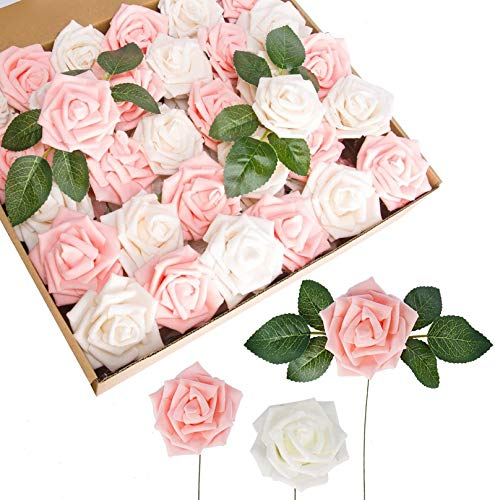 60pcs Artificial Flowers Roses Real Touch Fake Roses for DIY Wedding Bouquets Bridal Shower Party Home Decorations (Ivory&Pink)