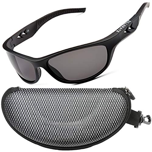 ZILLERATE Polarized Sunglasses For Men - Gafas De Sol Para Hombre - Mens & Womens Sport Sun Glasses, Running Golf Driving Fishing Cycling Sports, 100% UV Protection, Light & Durable Wrap Frame (Black)
