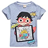 Thombase Camiseta para niños Toy Review de los niñas de Ryans World Vlogger Youtube (Gris1, 140 (7-8 años))