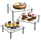 3 Tier Square Tempered Glass Display Stand 8, 10, 13 Inch for Cake, Cupcakes, Desserts, Bakery, Appetizers – Set of 3 Glass Retail Display Raiser. (Clear)
