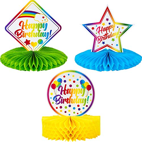 Blulu Large Colorful Happy Birthday Centerpiece Rainbow Honeycomb Decoration Happy Birthday Table Topper Birthday Pom Poms for Birthday Baby Shower Decoration, 9.5 to 10 inches
