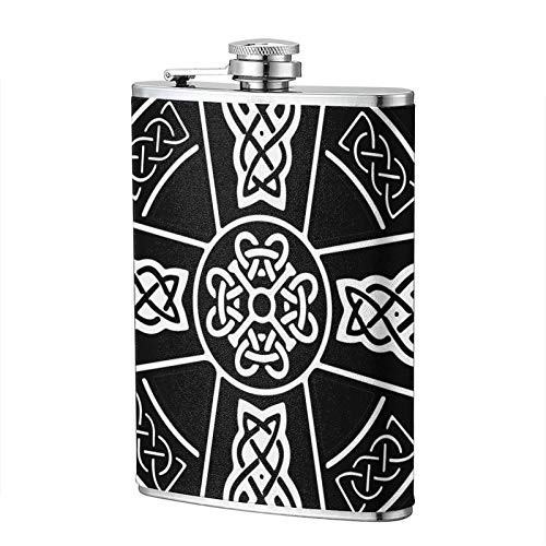 FTRGRAFE Celtic Cross Knot Irish Fashion Portable 304 Stainless Steel Leak-Proof Alcohol Whiskey Liquor Wine 8oz Pot Hip Flask Travel Camping Flagon for Man Woman Flask Great Little Gift