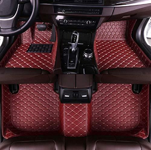 Fußmatten für C hevy Camaro 2010-2015 2017 rutschfeste Abnutzung Bodenmatten-Leder Material Automatten Teppiche (Weinrot)
