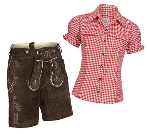 Damen Set Trachten Lederhose Shorts dunkelbraun kurz + Träger + Trachtenbluse Mala 38 Rot Weiß Kariert 40