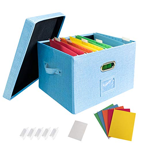 JSungo File Organizer Box Office Document Storage with Lid Collapsible Linen Hanging Filing Organization Home Portable Storage with Handle Letter Size Legal Folder Blue