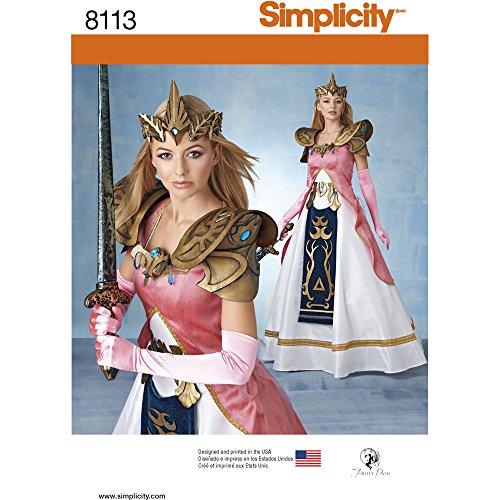 Simplicity Schnittmuster Kostüm mit Craft Schaumstoff Armour/Gürtel und Krone Schnittmuster, Papier