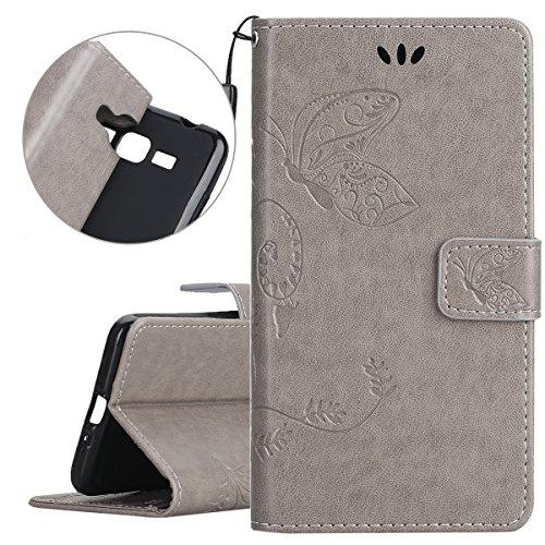 ISAKEN Compatibile con Samsung Galaxy Grand Prime G530 Custodia Cover - Farfalla Design in Pelle PU Cover Flip Portafoglio Cover con Supporto di Stand/Strap/Carte Slot/Chiusura - Farfalla: Grigio
