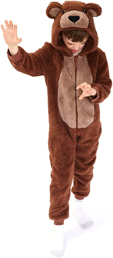 High quality Kids Snug Fit Sherpa Brown Bear Onesie Pajamas ! Super beauty product restock quality top! Costume Animal fo