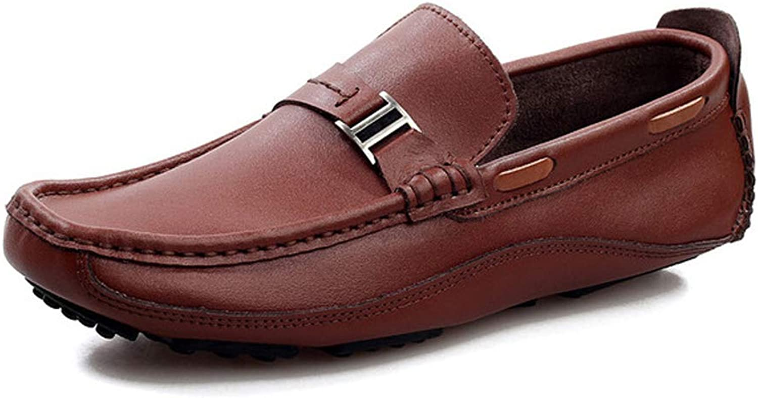 Men's Casual shoes Wild Leather Peas shoes Handmade Flat shoes Breathable Resistant Driving shoes