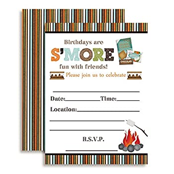 S More Fun with Friends S Mores Themed Birthday Party Invitations 20 5 x7  Fill in Cards with Twenty White Envelopes by AmandaCreation
