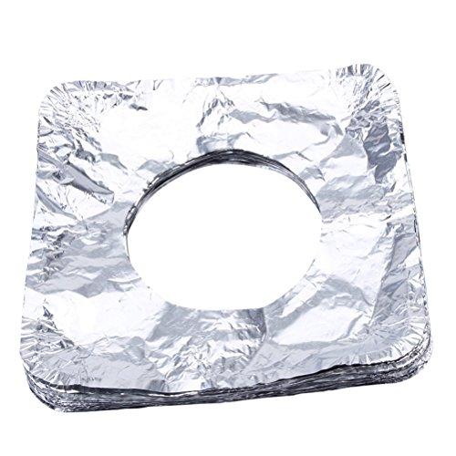 BESTonZON 50 unids Desechables Babero Liners Quemador de Estufa de Gas Cubre Aluminio Protectores de Rango de Gas para la Cocina Gas Range Top - Plaza