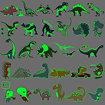Ooopsiun Luminous Dinosaur Temporary Tattoos for Kids - 90 Styles Glow in The Dark Dinosaur Birthday Party Decorations Supplies Favors for Boys Kids
