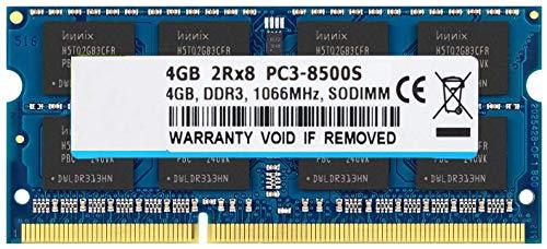 BPX 4GB DDR3 1066MHz 2RX8 PC3-8500S SO-DIMM CL7 204 Pin 1.5v No ECC sin búfer de Memoria portátil del Cuaderno de Memoria RAM Módulos Compatible con Intel y AMD Ordenador Mac