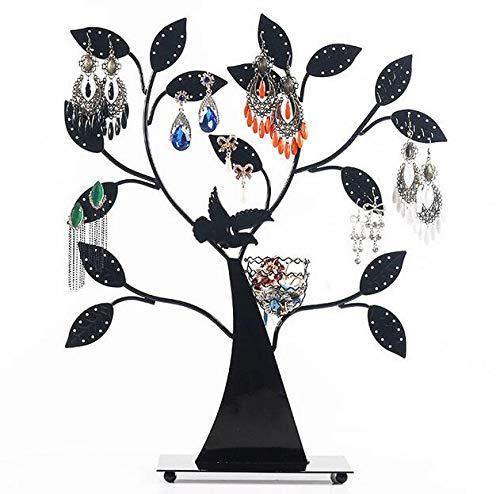 XKMY Soporte de exhibición Soporte de metal para joyas, árbol de pájaros, decoración de mesa, color negro, 48 pares de pendientes, pulseras, collar organizador de soporte