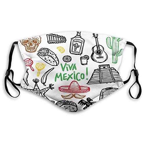AOTISO Comfortabel bedrukt masker, Mexicaans, Sketch Latin-object met Burritos-gitaar Tequila-fles en Pinata Quetzal Coati, Multicolor
