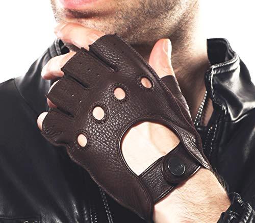 Elma Men's Deerskin Fingerless Half Finger Driving Fitness Motorcycle Cycling Unlined Leather Gloves (XL, Brown)