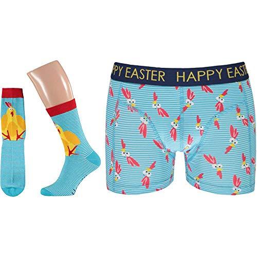 Lieblingsstrumpf24 Geschenkbox Ostern Unterhose und Socke Herren Baumwolle Happy Easter (Comb 2, S)