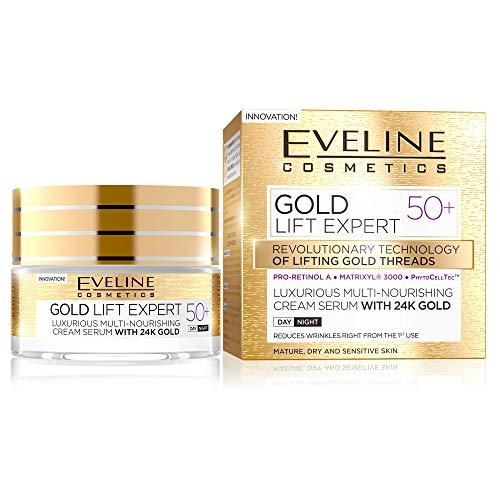 Eveline Cosmetics Gold Lift Expert Multi-pflegendes Anti Age Gesichtscreme Damen mit 24 Karat Gold für Tag und Nacht 50+ | 50 ML | Creme für Trockene Reife und Empfindliche Haut