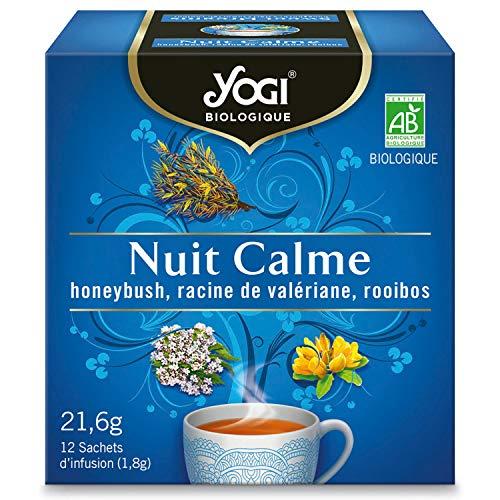 Yogi Biologique Nuit Calme, Infusion 100% Bio Honeybush, Valériane et Rooibos, 12 Sachets thermosoudés et sans agrafe, 21.6 g, 310111