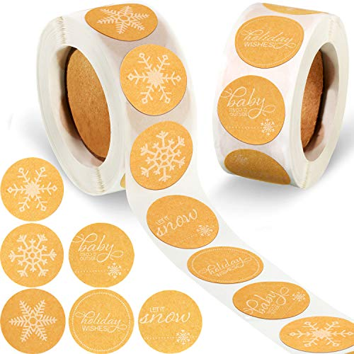 1000 Pieces Snowflakes Christmas Stickers Christmas Envelope Seals Envelope Stickers Christmas Tags Decals Multiple Design