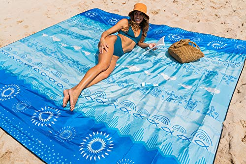 OCOOPA Beach Blanket Sandproof, 10'X 9' Extra Large, Soft and Durable Meterial, Sand Free Waterproof, Light Weight and Portable, Perfect for Travel Camping, Beach Vocation, Bohemia
