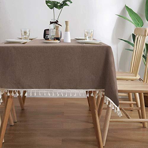 Rectángulo sólido Moderno / Mantel de Comedor Redondo con Encaje Algodón Lino Cubierta de Mantel Impermeable Fiesta Decoración de la Mesa en casa 140x200cm Café Profundo
