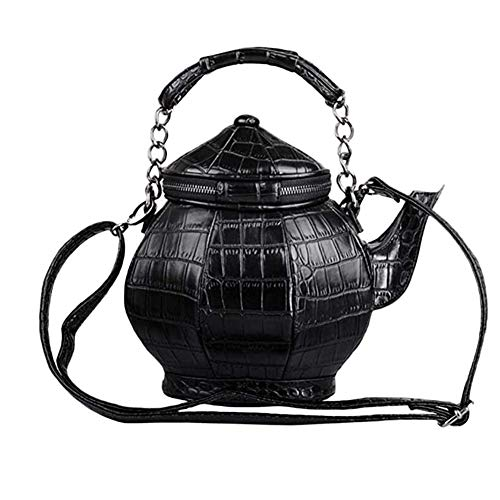 Zidao Retro-Teekanne in Teekannenform, Handtasche, Umhängetasche, Handtasche mit Griff oben, Schultertasche, New Look, Street Fashion, moderne Damentasche, Schwarz