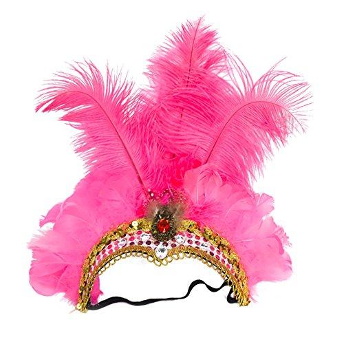 ShiyiUP Tocado de Plumas de Danza del Vientre para Masquerade Rosa