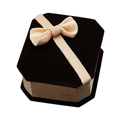 Bluelans Beautiful Bowknot Flannelette Necklace Ring Earrings Display Case Storage Jewellery Gift Box Jewelry (Champagne)