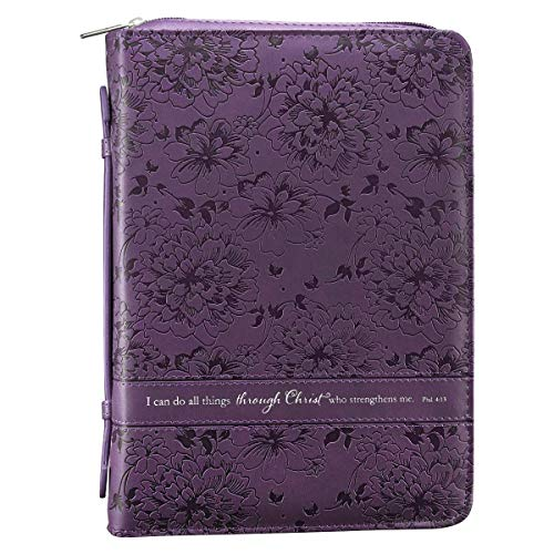 Christian Art Gifts Purple Faux Leather Bible Cover for Women   All Things Through Christ- Philippians 4:13   Zippered Case for Bible or Book w/Handle