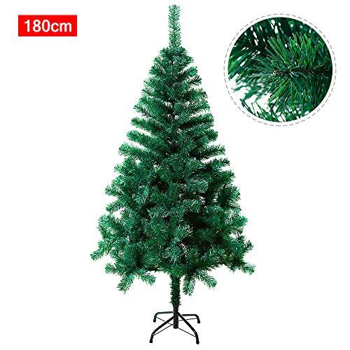 SAILUN 180cm künstlicher Weihnachtsbaum Christbaum Tannenbaum mit Metallständer, Schneller Montage und Faltung (180cm, Grün PVC)