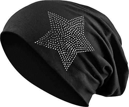 Jersey Baumwolle elastisches Long Slouch Beanie Unisex Herren Damen mit Strass Stern Steinen Mütze Heather in 35 (2) (Black)