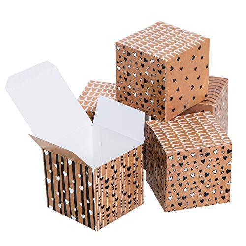 Logbuch-Verlag 10 kleine Geschenkboxen braun schwarz weiß 7 x 7 cm Gastgeschenk Hochzeit Give-Away Schachtel mit Deckel zum Befüllen Geschenkverpackung Kraftpapier-Optik