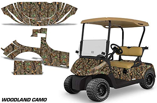AMR Racing Golf Cart Graphics kit Sticker Decal Compatible with E-Z-GO RXV 2008-2015 - Woodland Camo