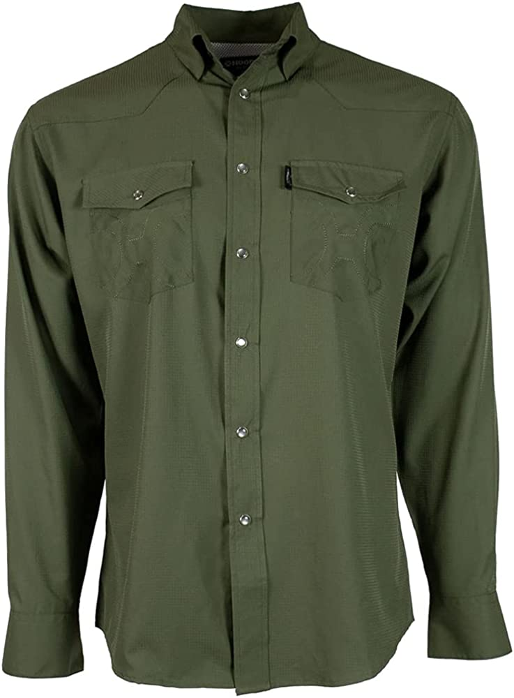 HOOEY Mens SOL Traditional Western Pearl Snap Style Premium Long Sleeve Button Down Shirt
