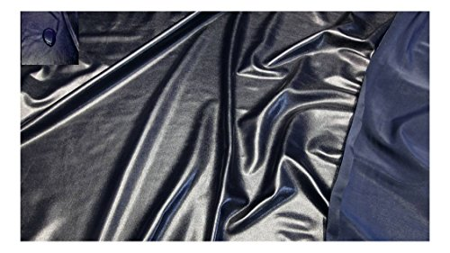 Fabrics-City % SCHWARZBLAU BI-ELASTISCH GLANZJERSEY WASSERABWEISEND STOFF STOFFE, 2971