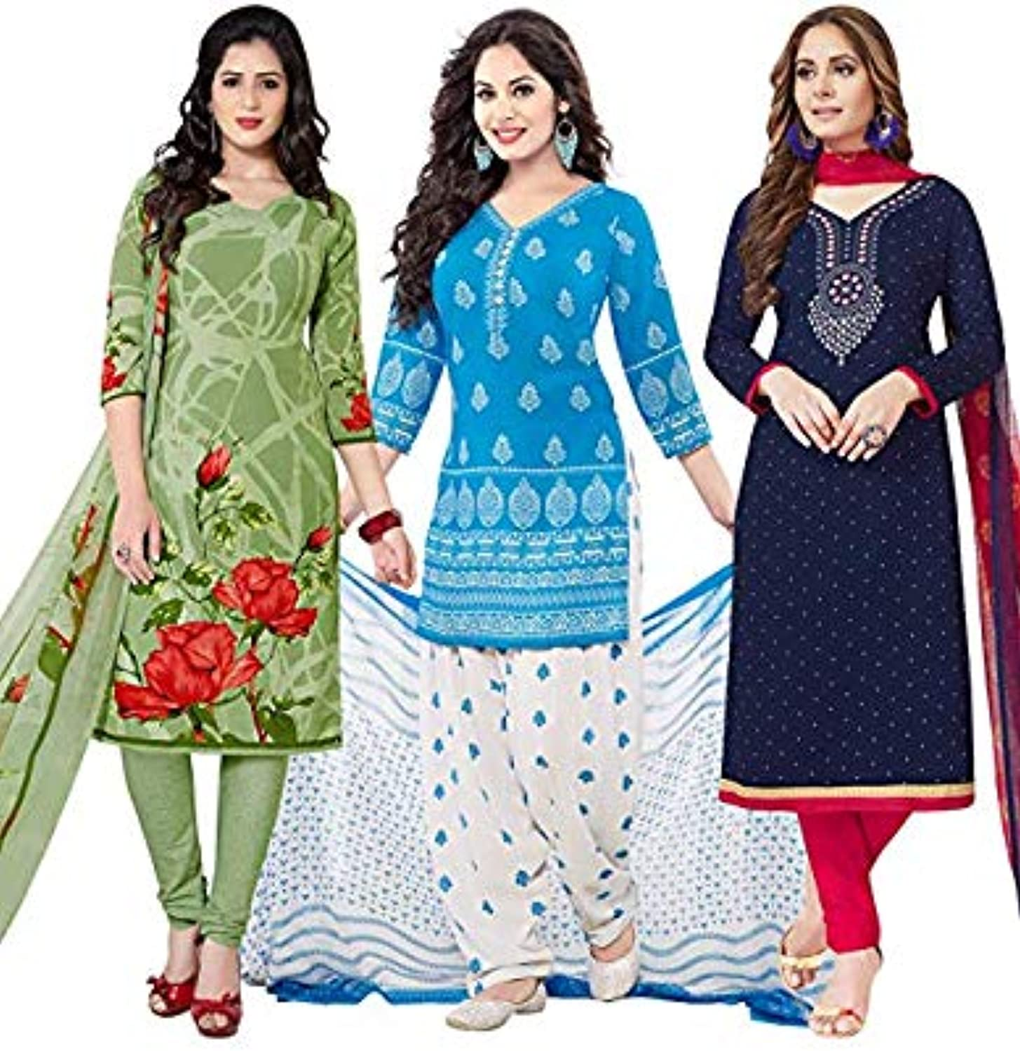 Muhenera Women's Pack of 3 Synthetic Printed Salwar Suit Unstitched Dress Material ComboM1563M1667M2386