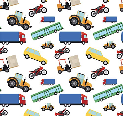 Transportation Party Gift Wrapping Paper - Folded Flat 30 x 20 Inch - 3 Sheets