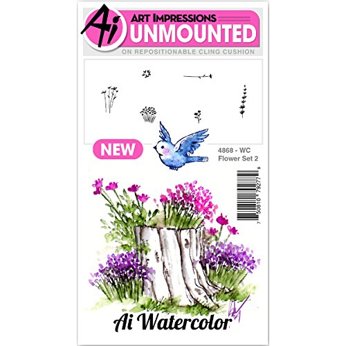 Art Impressions Watercolor Cling Rubber Stamp Flower 2 (4868)