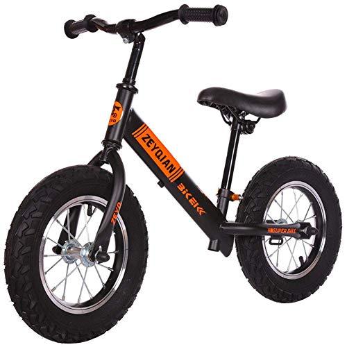 Learning Training Balancen-Fahrrad-Kinder Balancen-Fahrrad Erstes Fahrrad Aufblasbare Reifen, No-Pedal Wandern Bike for Kinder Kleinkinder 2 bis 6 Jahre, Schwarz (Farbe: Schwarz) Zixin