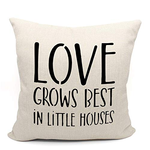 Mancheng-zi Love Grows Best in Little Houses Throw Pillow Case, Gift Love Couple Wedding, Housewarming Gift, 18 x 18 Inch Decorative Linen Cushion Cover for Sofa Couch Bed