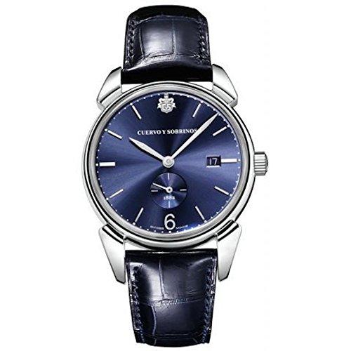 Cuervo Y Sobrinos 3191.1bs Hombres del Reloj historiador Pequenos Segundos Azul Sunray automático