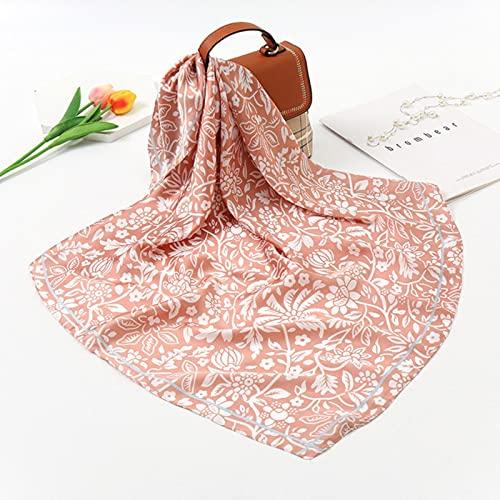 SHIYONG Bufanda de Seda para Mujer con Estampado de Cadena Cuadrada, Bufandas para la Cabeza, Bufandas Hijab de satén para Mujer, Chal, Diadema para Mujer, Fular